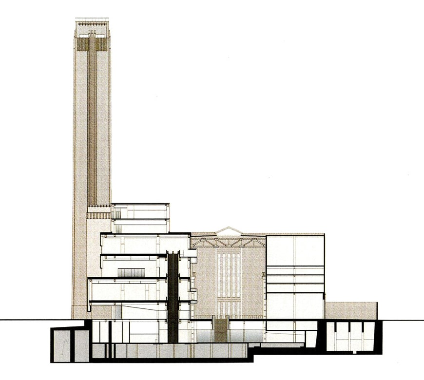 Tate Modern cross section drawing