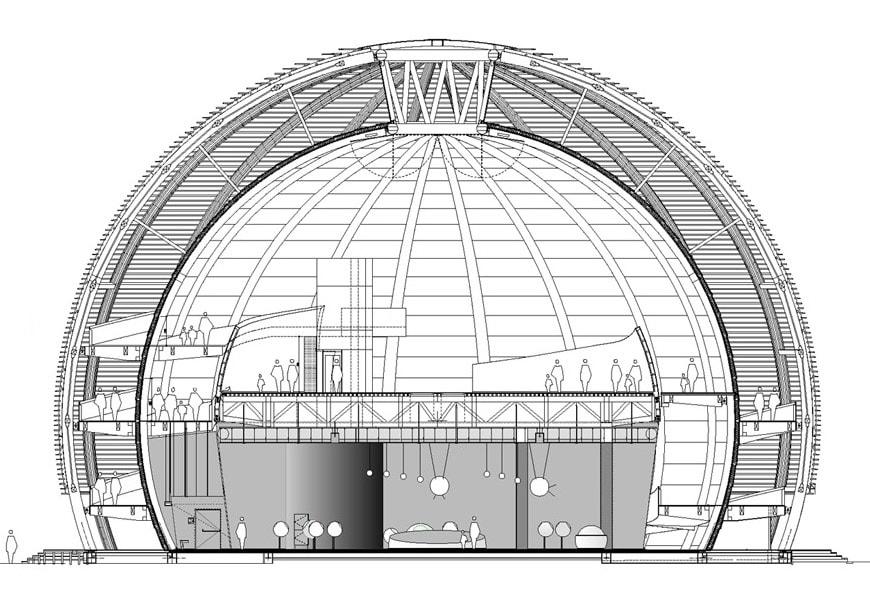 Globe Science Innovation timber pavilion CERN Geneva cross-section 2