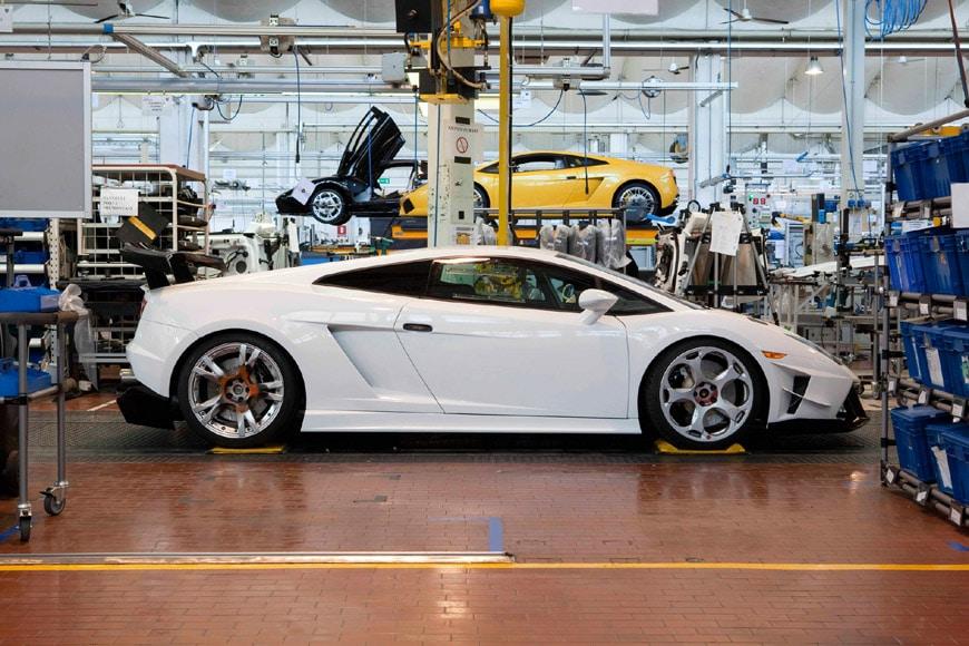 Lamborghini automobile assembly line