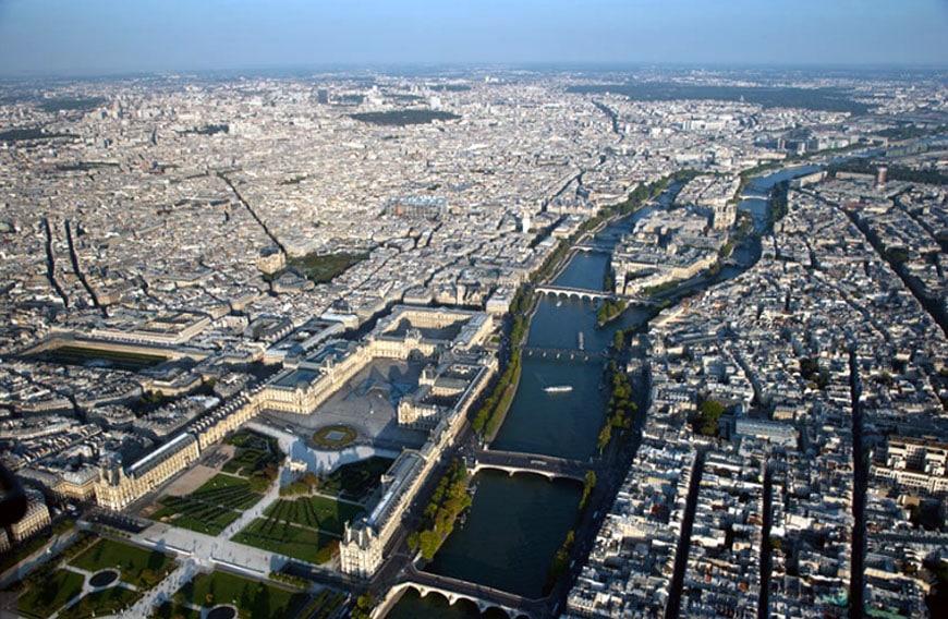 Louvre museum Paris aerial view