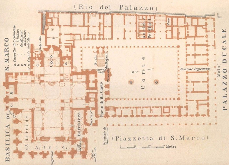 Venice Doge's Palace and St Mark's Basilica ground floor plan