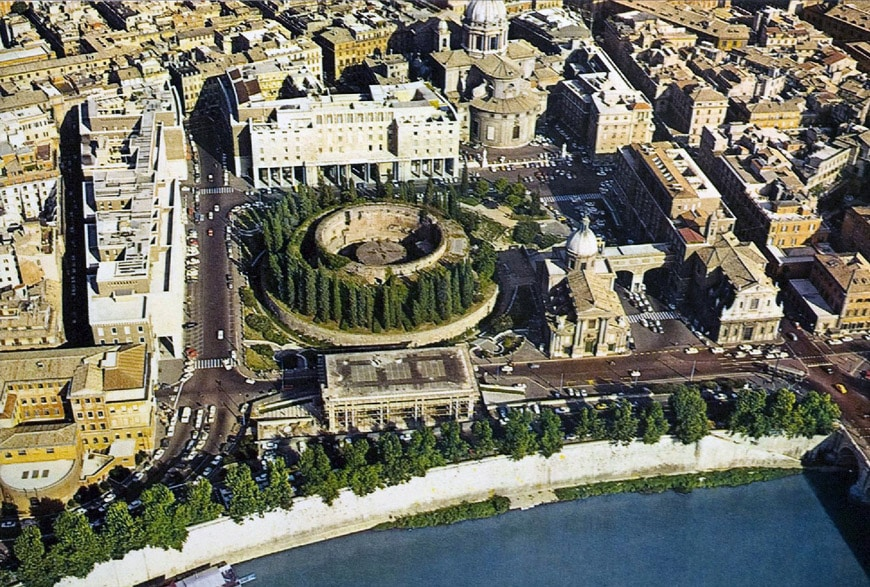 Ara Pacis Mausoleum Augustus Rome aerial view