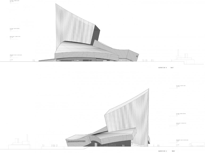 Daniel Libeskind Imperial War Museum North Manchester elevations