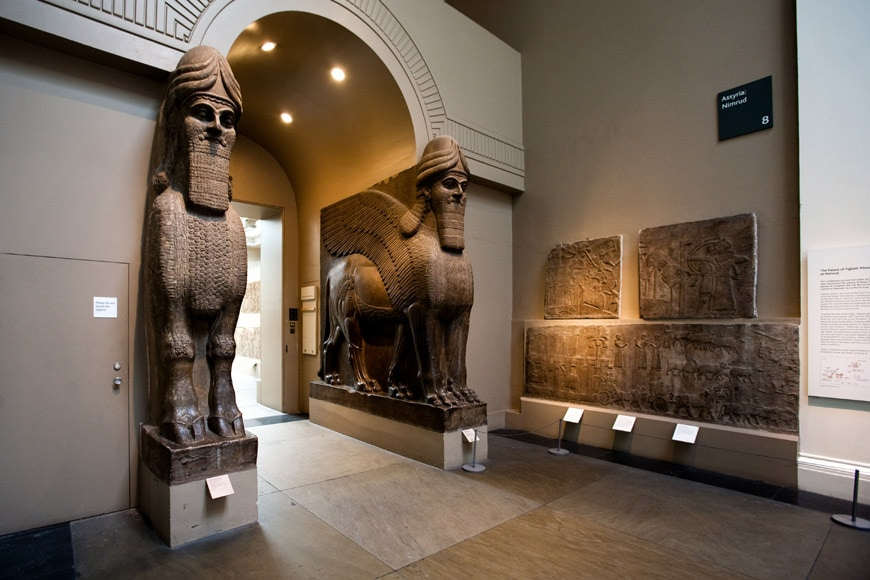 British Museum London Assyrian winged lions