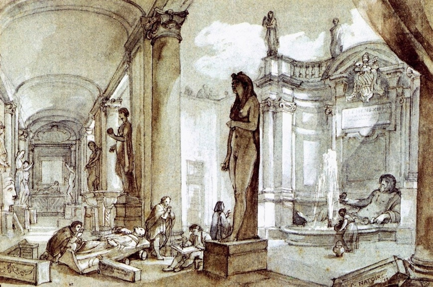 Capitoline Museum drawing by Joseph Natoire 1759