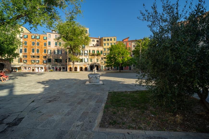 Venice Jewish Ghetto, panorama with olive tree