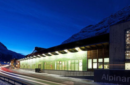 Alpinarium museum Galtur exterior view night