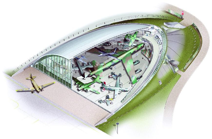 American air Museum Duxford, Foster + Partners, cutaway drawing