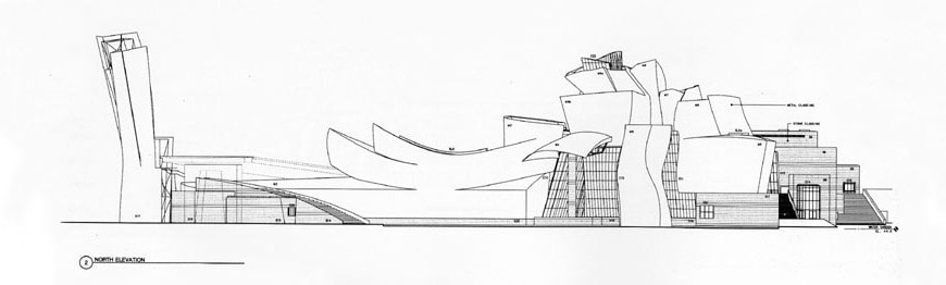 Guggenheim Bilbao Frank Gehry first north elevation