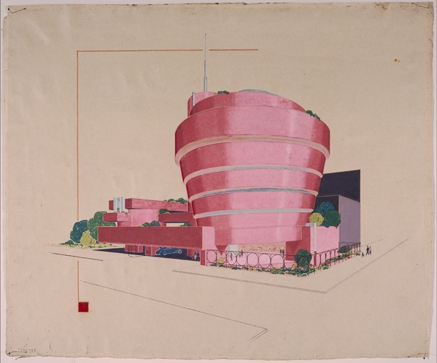 Guggenheim NY Wright sketch red