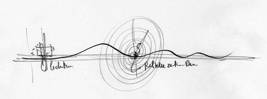 Zentrum Paul Klee Renzo Piano conceptual sketch