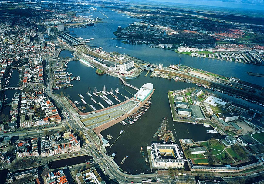 nemo science center amsterdam aerial view
