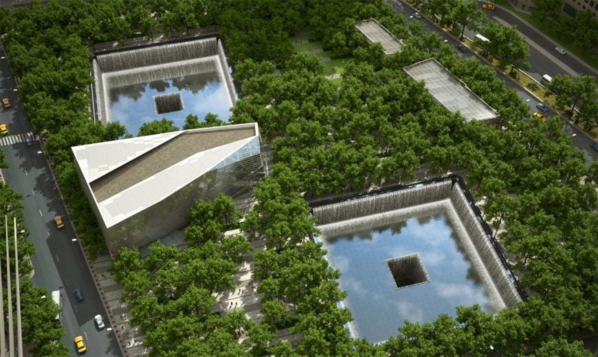 September 11 memorial & museum New York aerial
