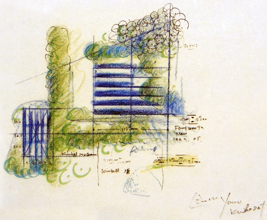 Museum of Modern Art Fort Worth, Tadao Ando, conceptual sketch