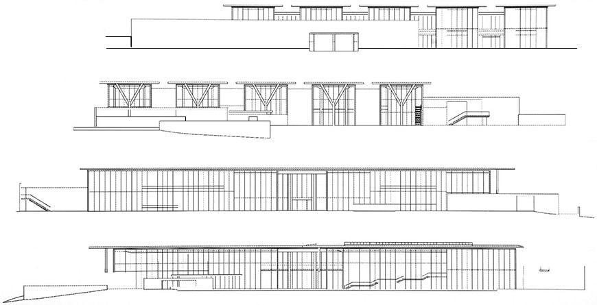 Museum of Modern Art Fort Worth, Tadao Ando, longitudinal elevations