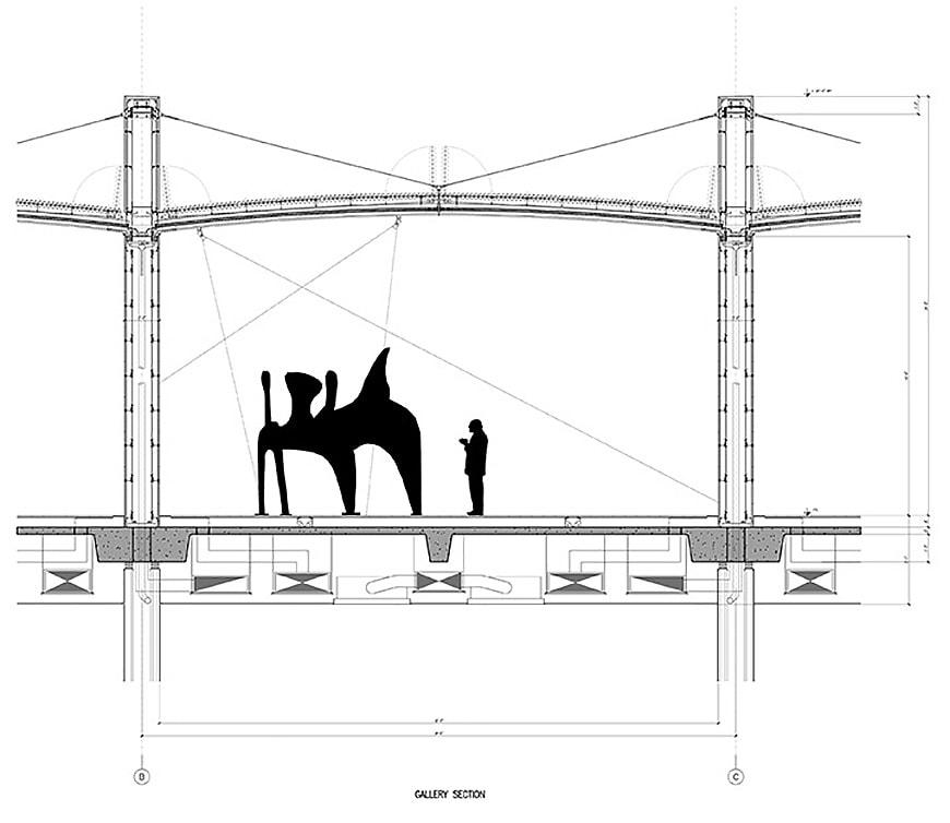 Nasher Sculpture Center Dallas, TX, Renzo Piano, cross section