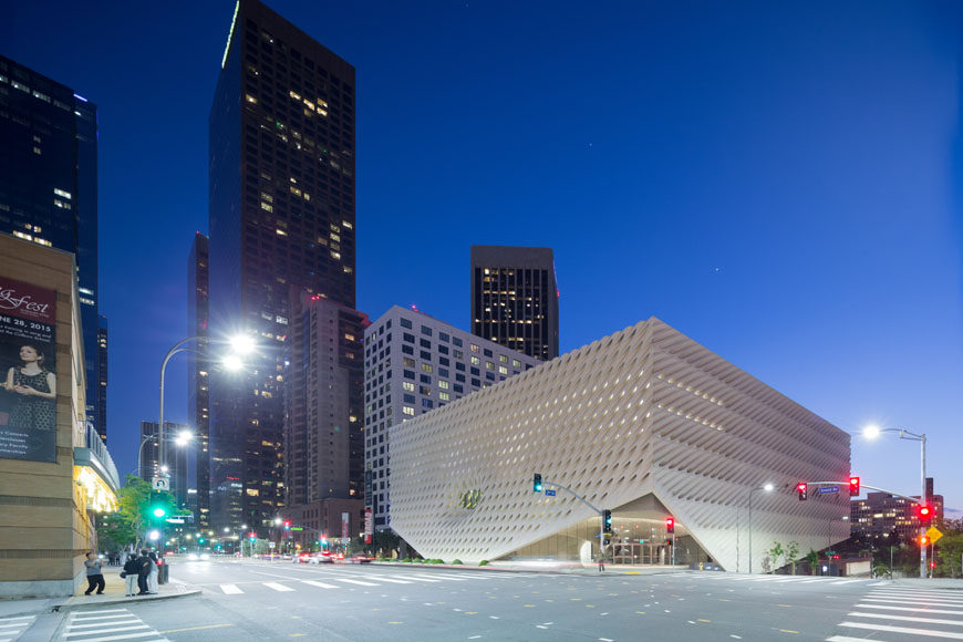 The Broad museum Los Angeles exterior night
