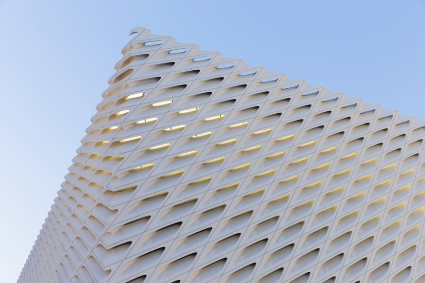 The Broad museum Los Angeles facade detail