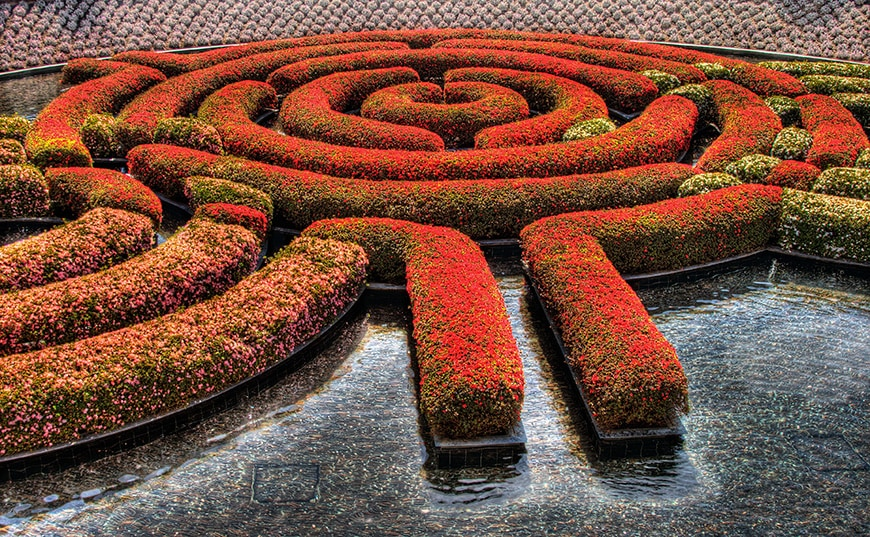 Getty Center, Los Angeles, central garden, Robert Irwin, detail
