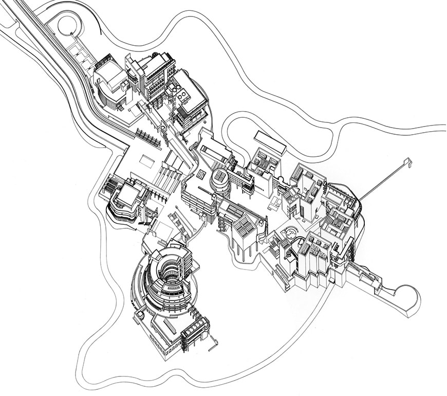 Getty Center, Richard Meier, axonometric view