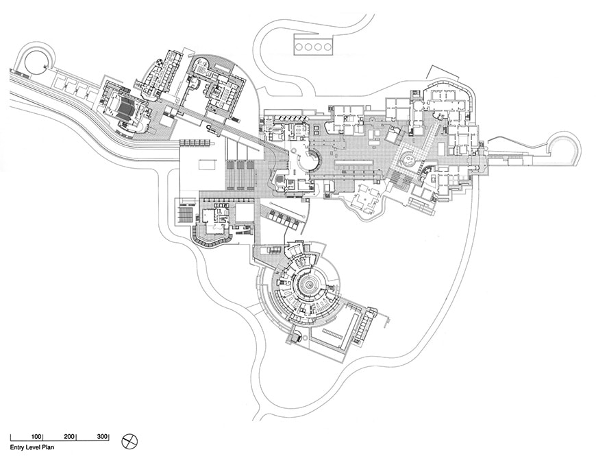 J. Paul Getty Museum, Los Angeles, Richard Meier, entry level plan