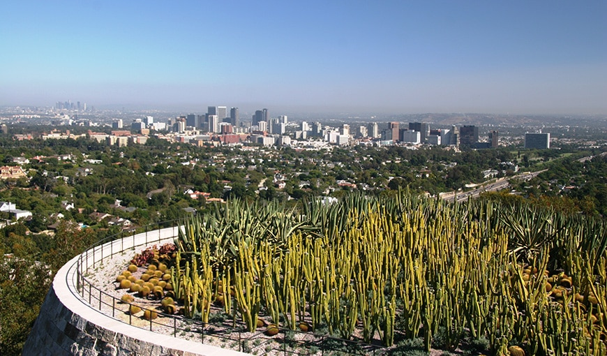 Panoramic view of Downtown Los Angeles from Getty Center