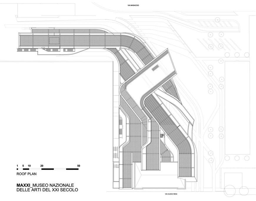 MAXXI museum Rome Zaha Hadid roof plan