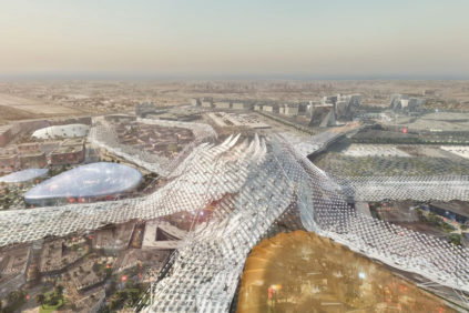 Expo Dubai 2020 main plaza aerial view 01