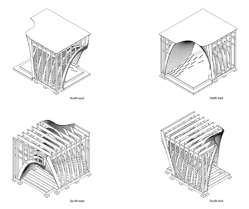 Pauhu temporary wood pavilion Tampere Architecture Week scheme 01