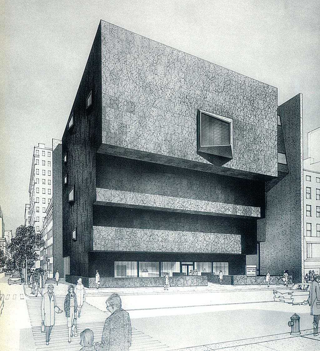 Marcel Breuer The Whitney Museum of American Art Rendering by Helmut Jacoby 1966