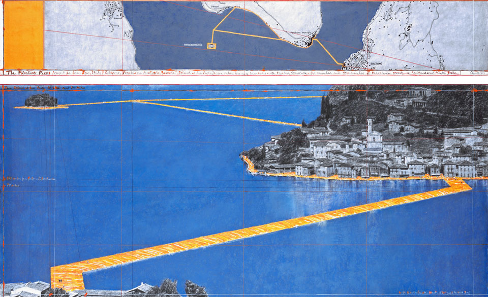 Christo Floating Pier Iseo Lake 2016 bird's eye drawing 01