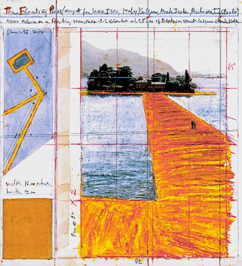 Christo Floating Pier Iseo Lake 2016 perpective drawing 02