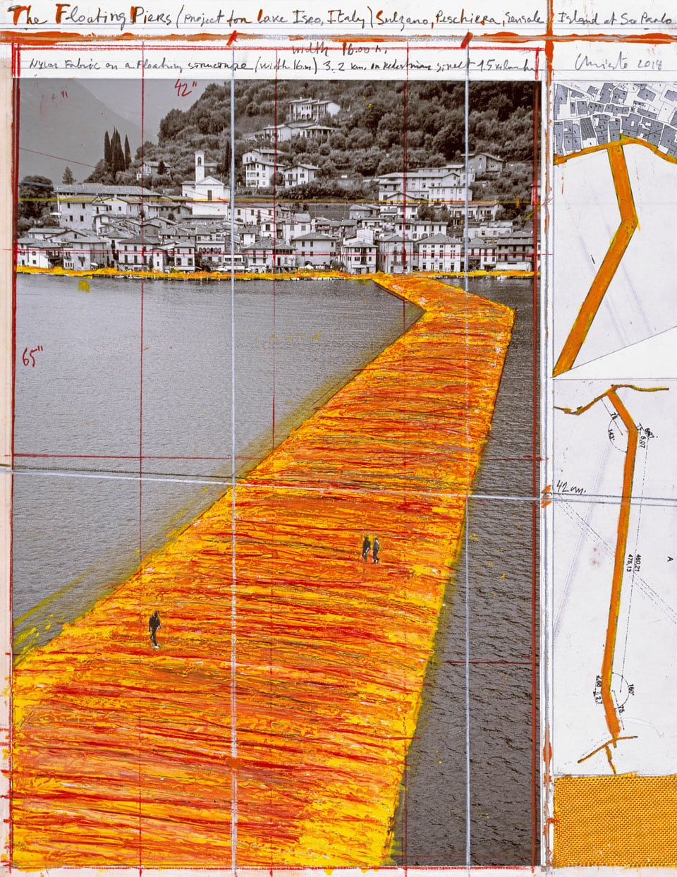 Christo Floating Pier Iseo Lake 2016 perpective drawing 03