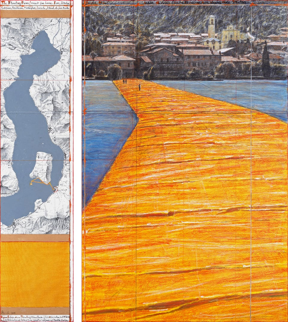 Christo Floating Pier Iseo Lake 2016 perpective drawing 04