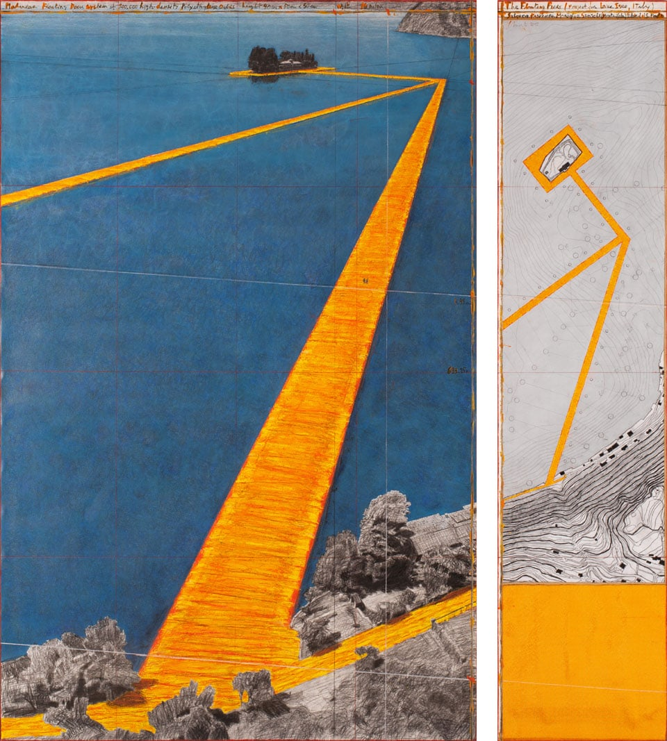 Christo Floating Pier Iseo Lake 2016 perpective drawing 06