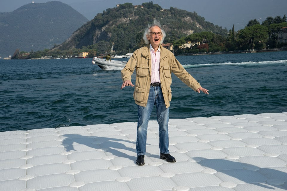 Christo testing Floating Pier Iseo Lake 2016
