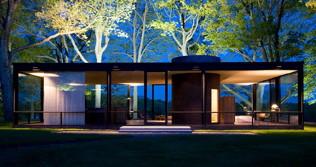 Glass House Philip Johnson New Canaan Connecticut night