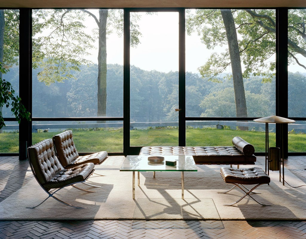 Glass House interior Philip Johnson New Canaan Connecticut