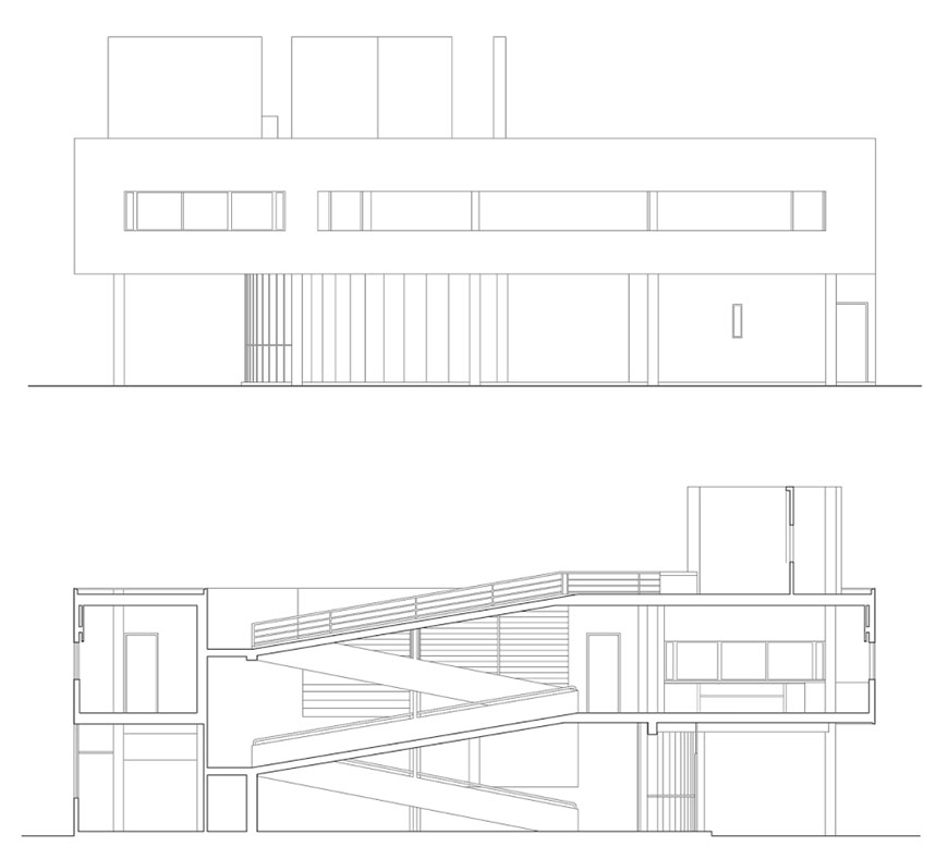 Villa Savoye Le Corbusier Poissy elevation and section