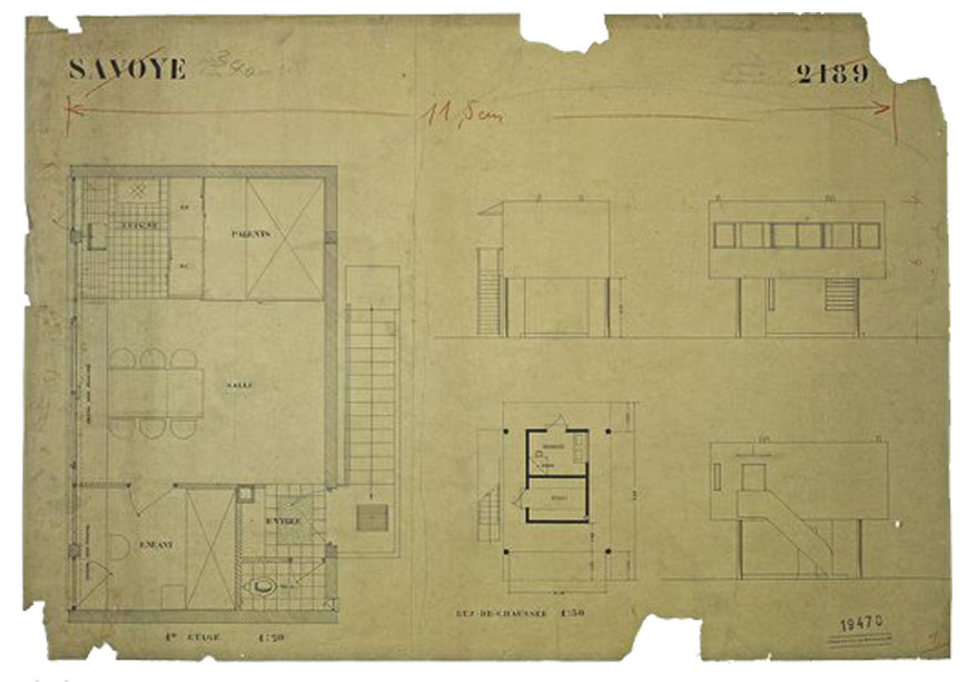 Villa Savoye Le Corbusier caretaker lodge original drawings