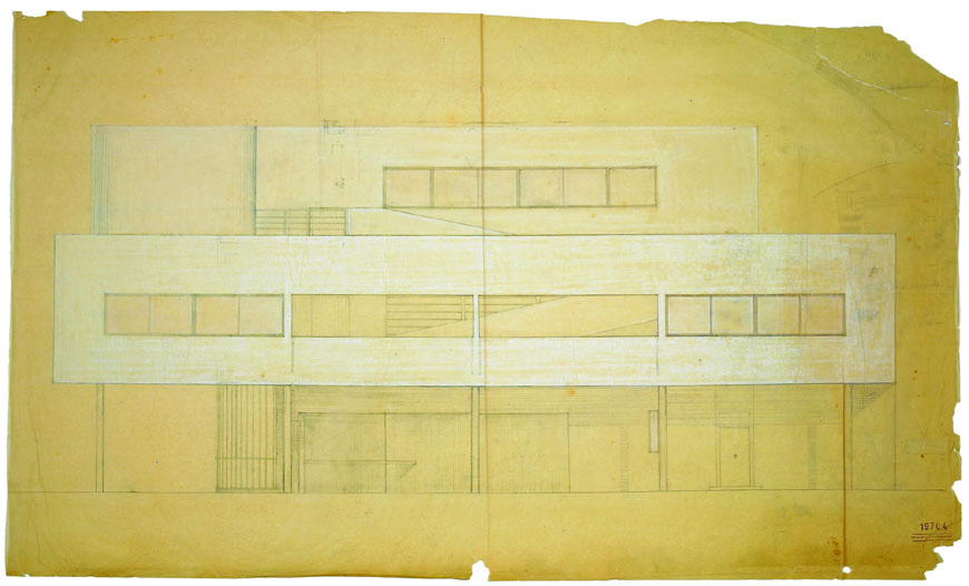Villa Savoye Poissy Le Corbusier elevation drawing