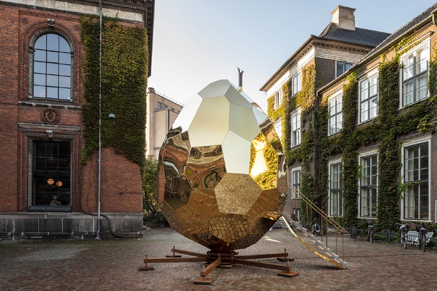 Kunsthal Charlottenborg Copenhagen entrance with the Solar Egg sculpture by Bigert & Bergströmt