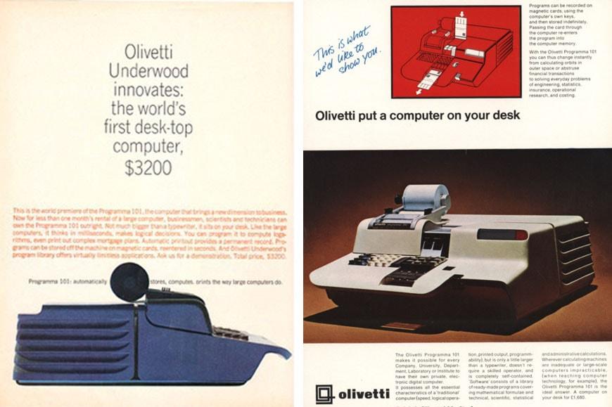 Olivetti Programma 101 avertisements