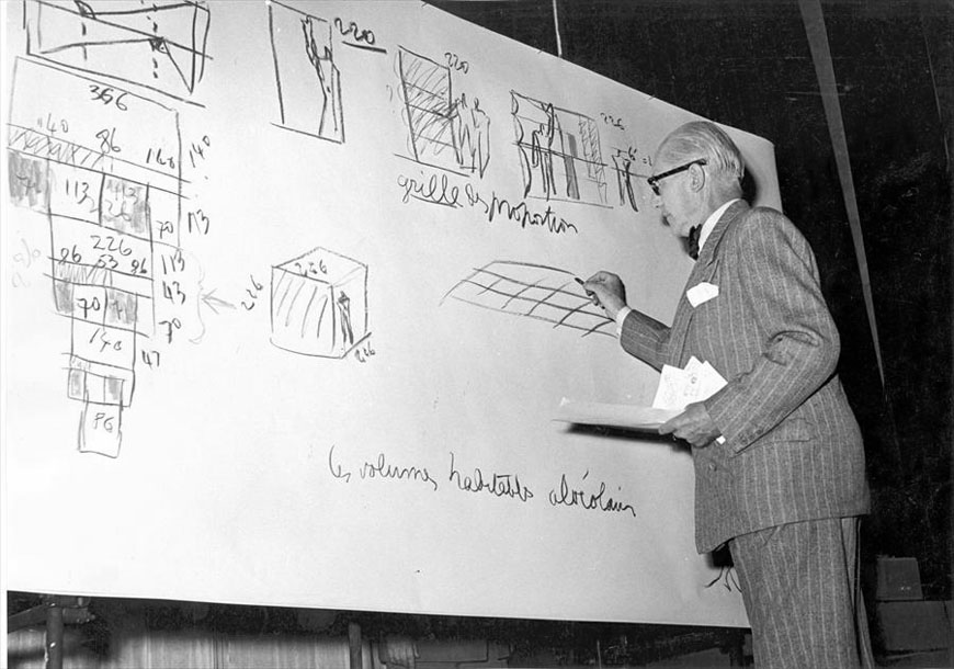 Le Corbusier presenting the Modulor