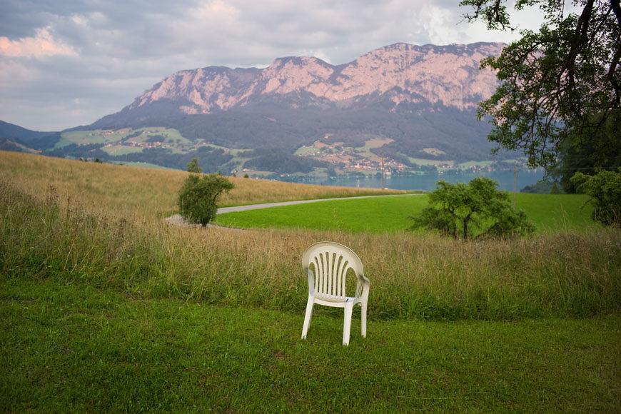 Monobloc plastic chairs exhibition Vitra Schaudepot 01