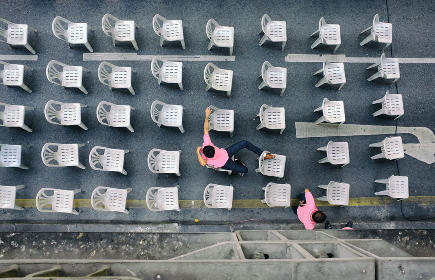 Monobloc plastic chairs exhibition Vitra Schaudepot 02