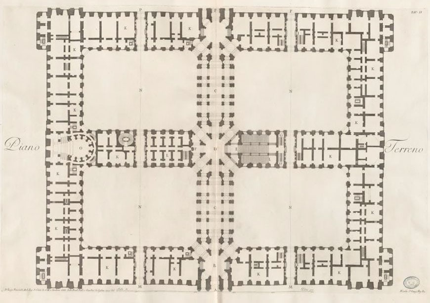 Royal Palace Caserta Reggia ground floor plan