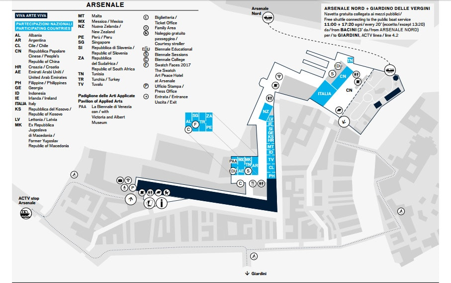 Art Biennale Venice 2017 Arsenale map
