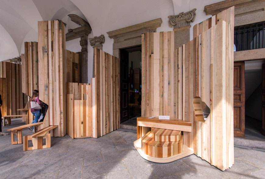 Benedetta Tagliabue EMBT Too good to waste installation American hardwood Milan 1