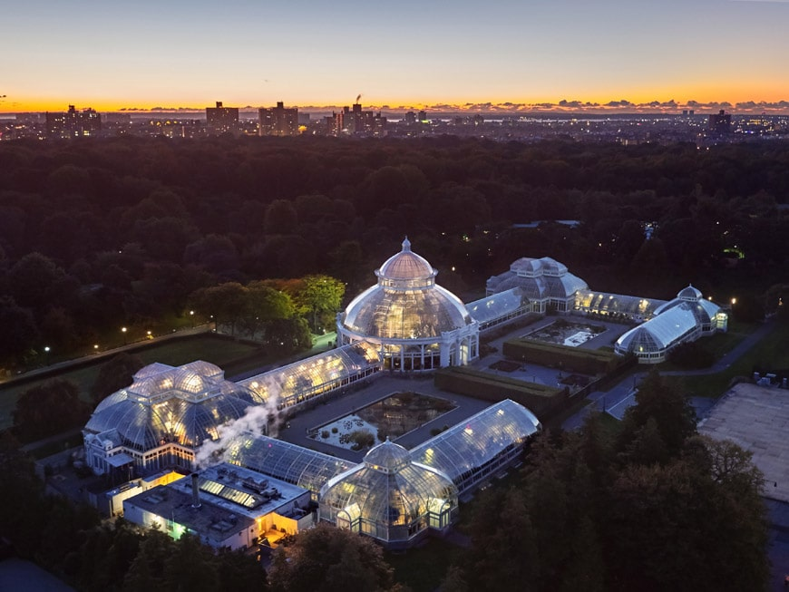 New York Botanical Garden Bronx Conservatory building aerial view